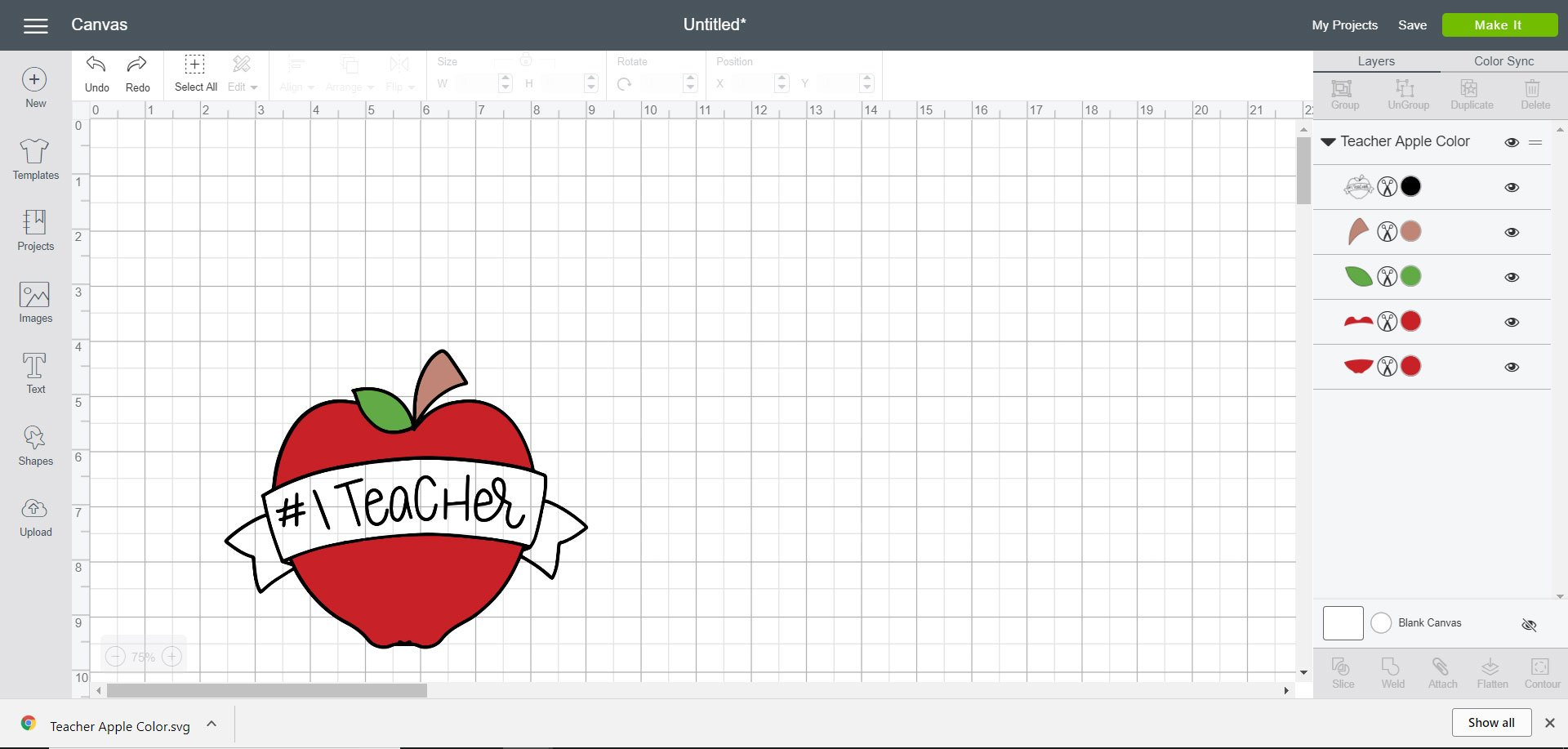 #1 Teacher SVG - Cricut Design Space