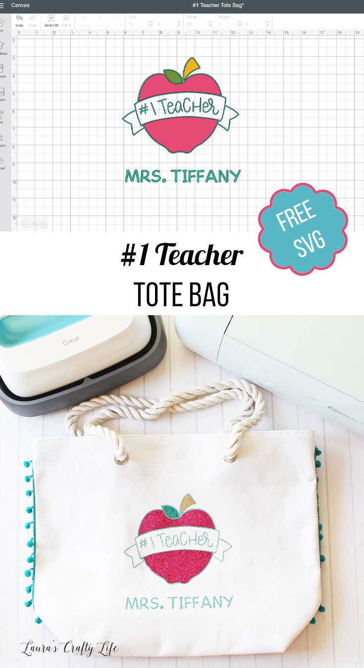 #1 Teacher Tote Bag - teacher appreciation gift idea with a free SVG cut file