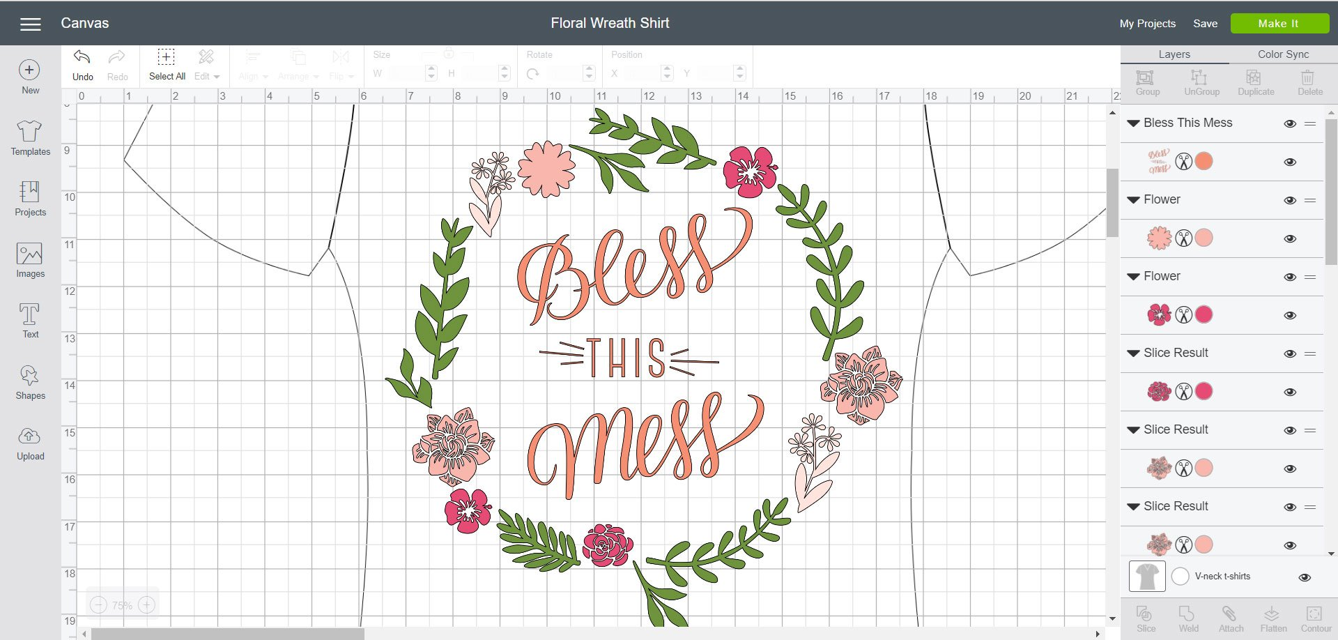 Bless this Mess Floral Wreath - Cricut Design Space