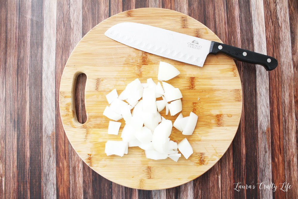 Chop onion into large pieces