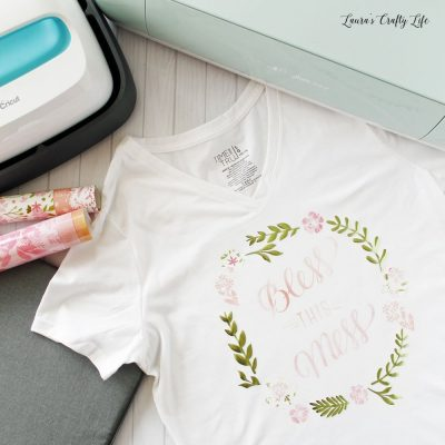Cricut patterned iron-on floral wreath shirt