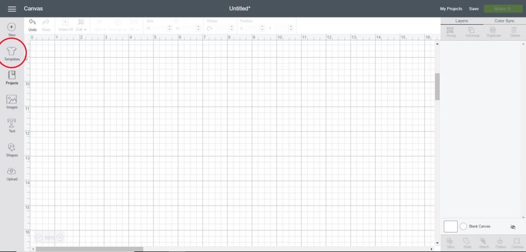 Open templates tool in design panel