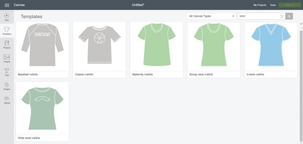 Type shirt in search bar for templates