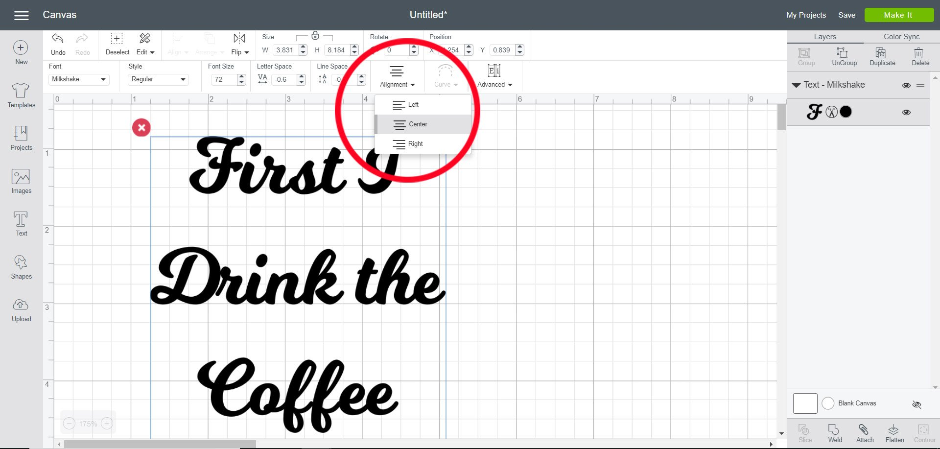 Change alignment of text in Cricut Design Space