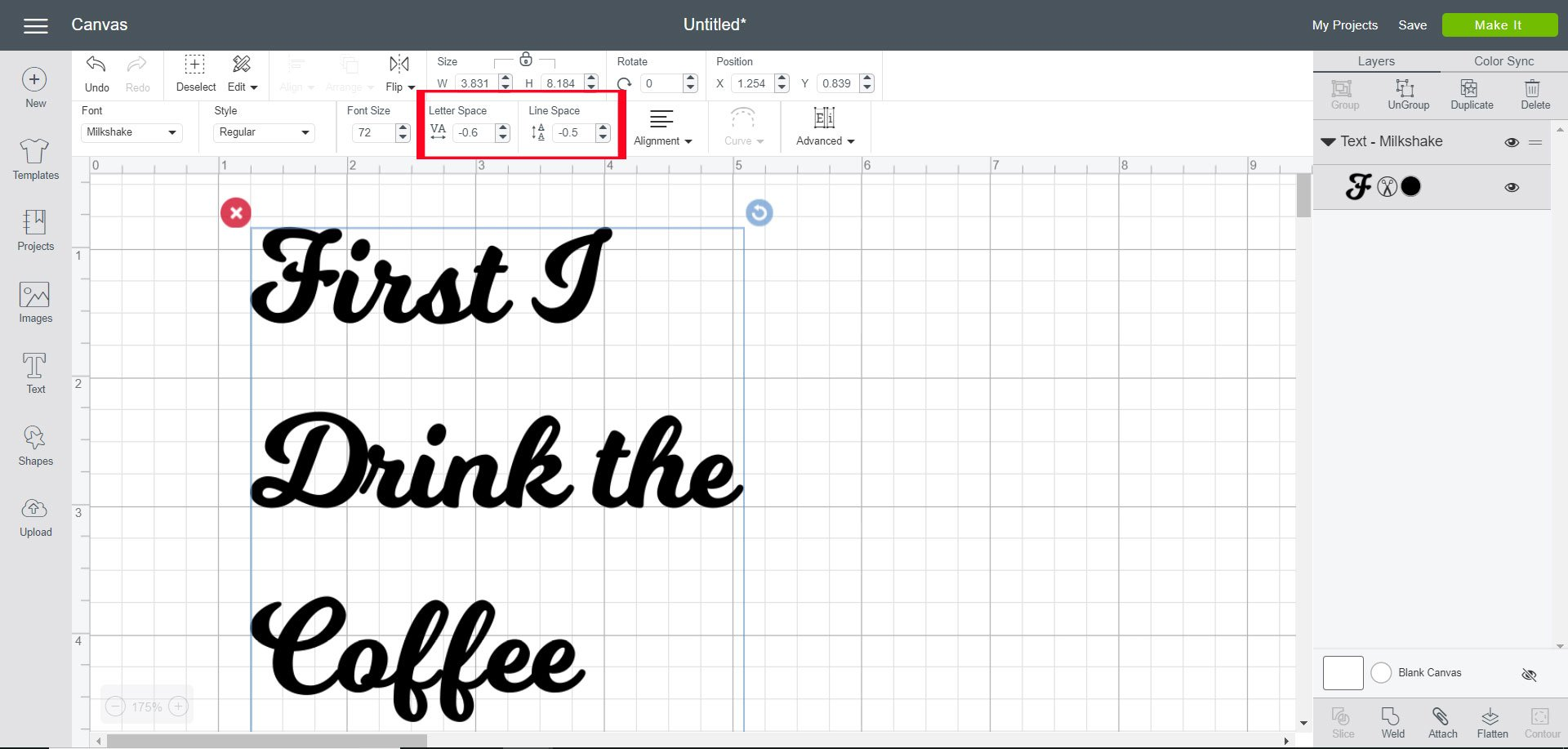 Change letter or line spacing in Cricut Design Space