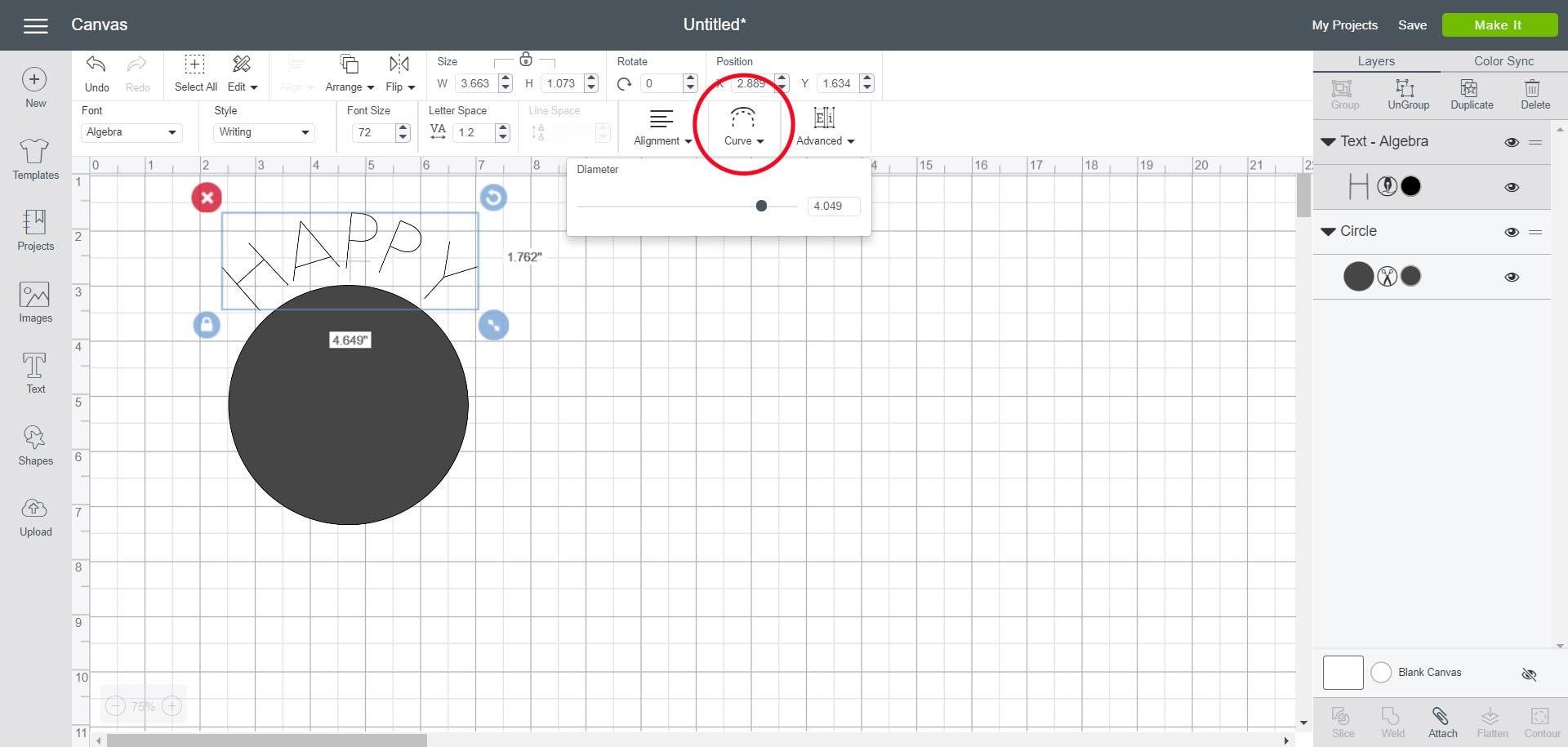 Curve text tool in Cricut Design Space