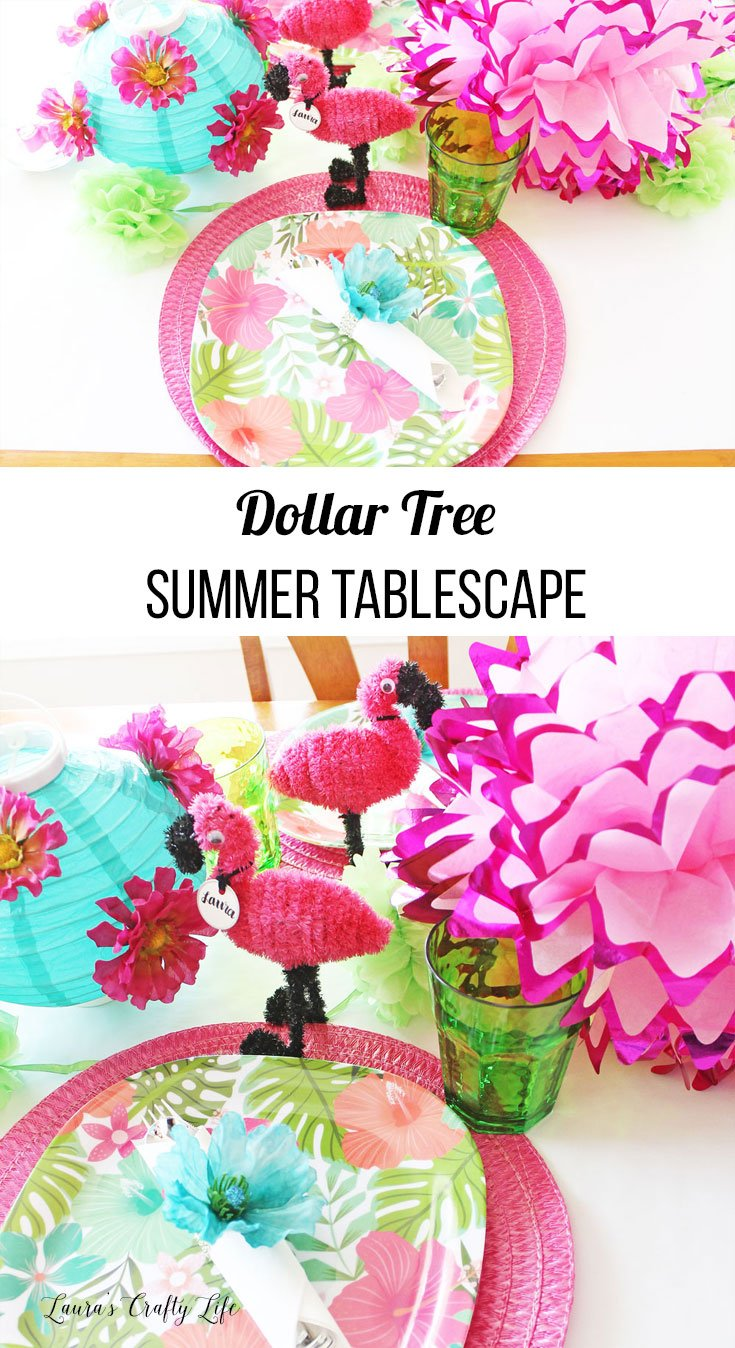 Dollar Tree summer tablescape - party decorating idea for summer