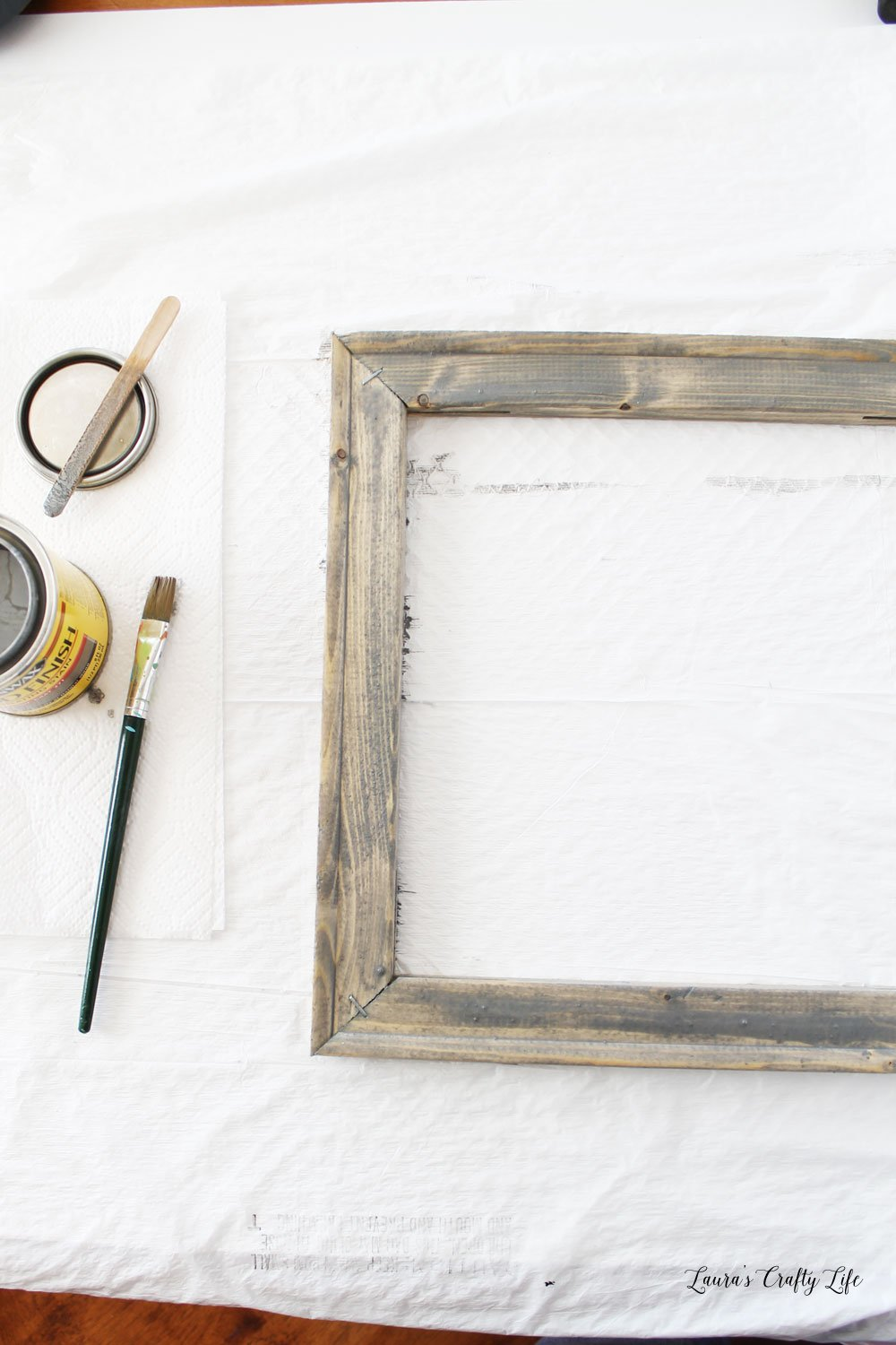 Frame with one coat of stain