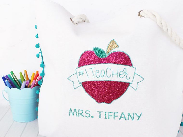 Personalized #1 Teacher gift tote bag