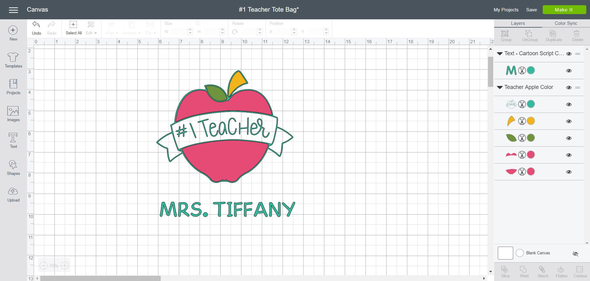 Personalized #1 Teacher SVG - Cricut Design Space