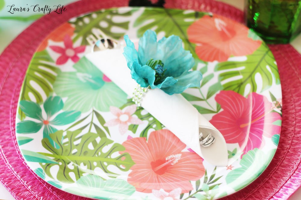 Summer place setting from dollar tree