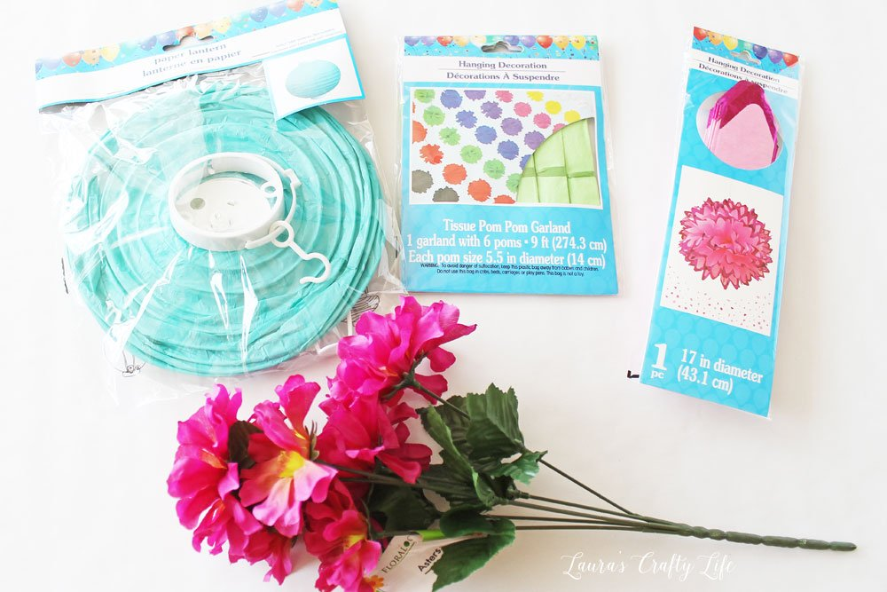 Supplies for summer tablescape centerpiece