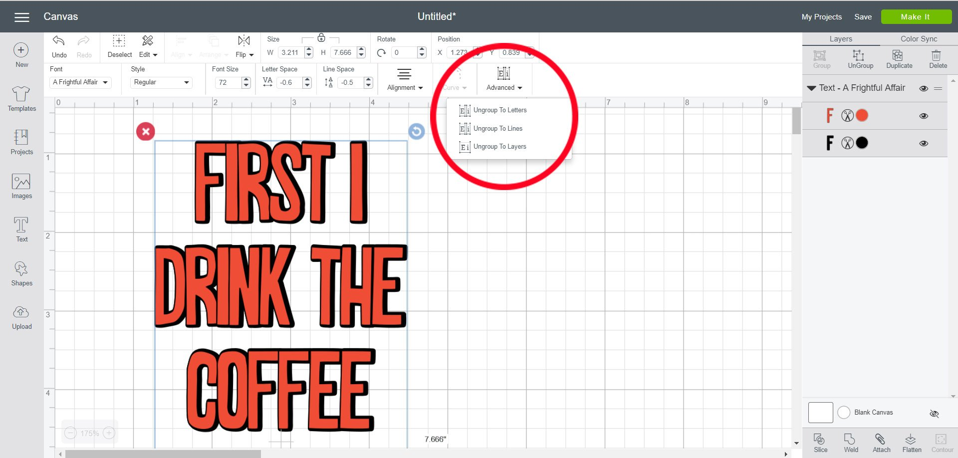Using Advanced tools to change font in Cricut Design Space
