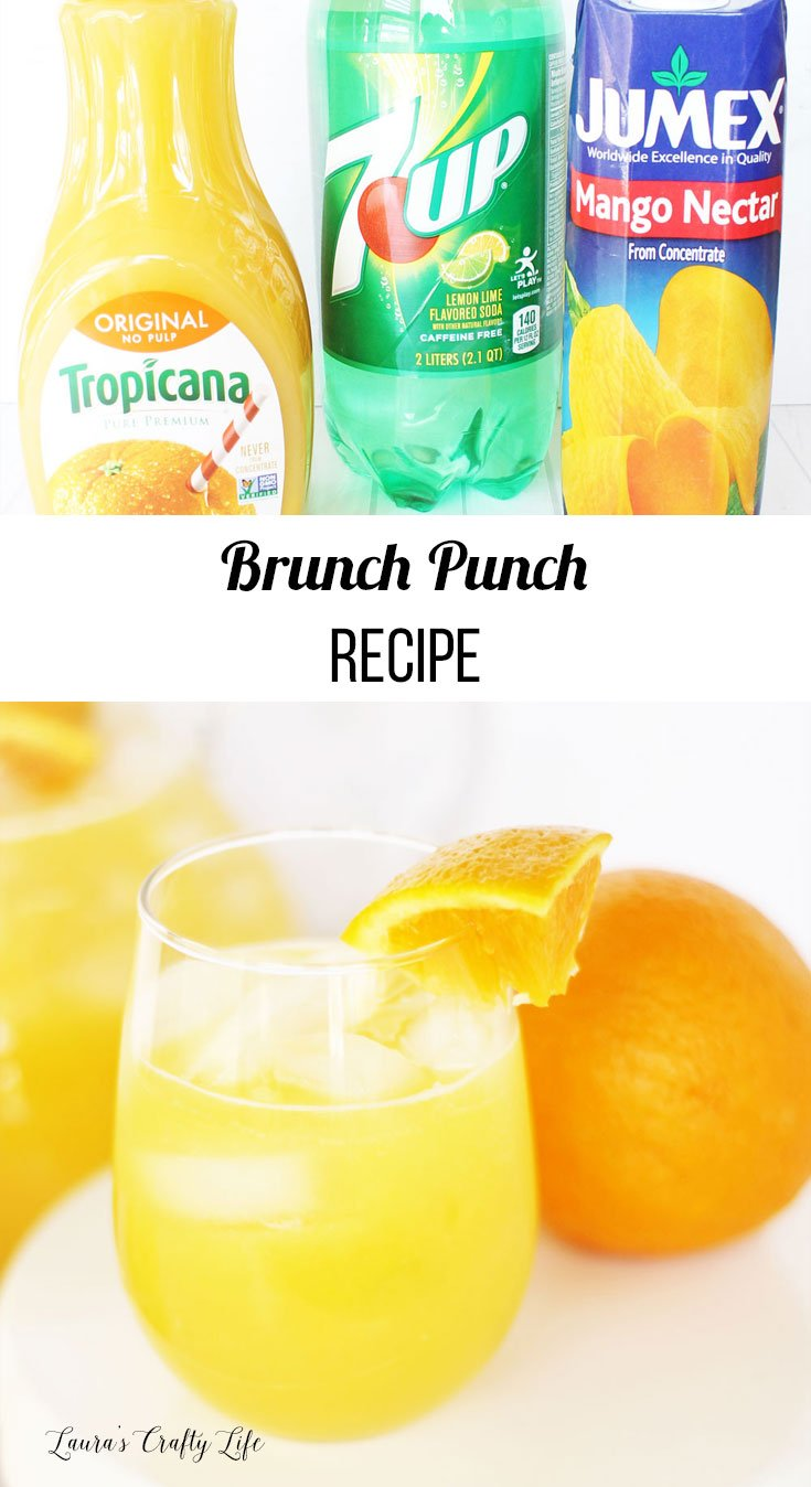 Brunch punch recipe - delicious non-alcoholic orange juice based punch perfect for bridal and baby showers