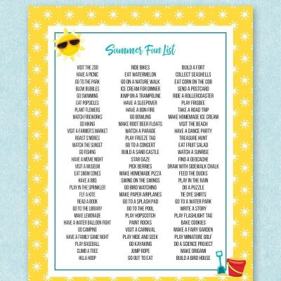 Free printable summer fun list - tons of ideas for what to do with your family and the kids for summer