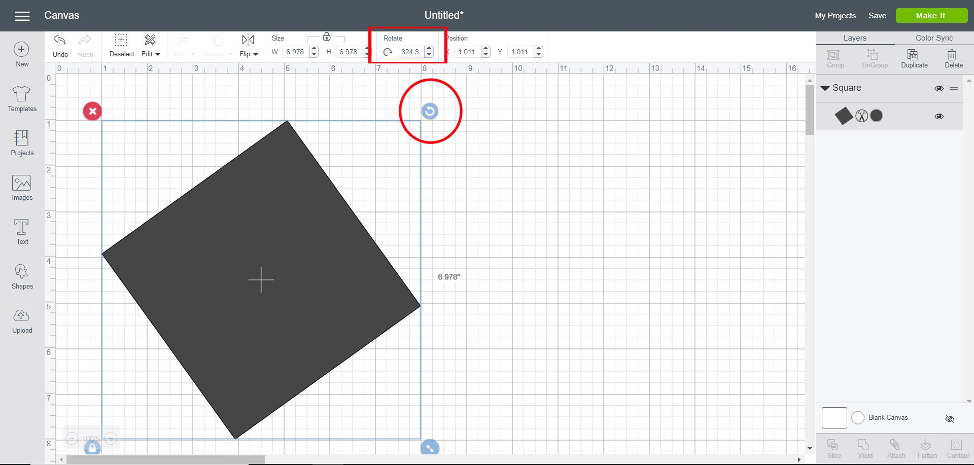 Rotate shape in Cricut Design Space