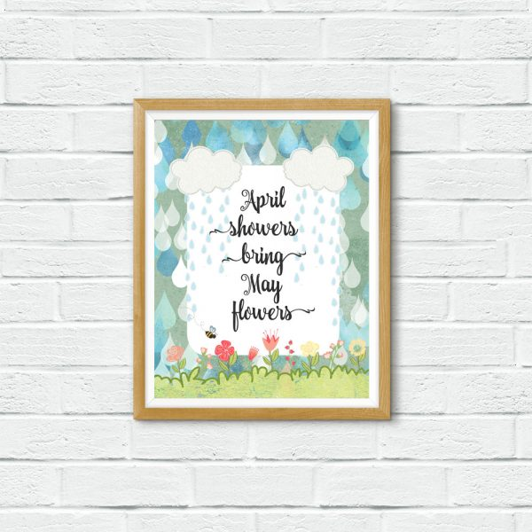 April Showers in wooden frame