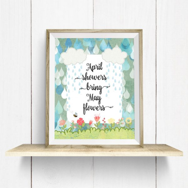 April Showers on wooden shelf