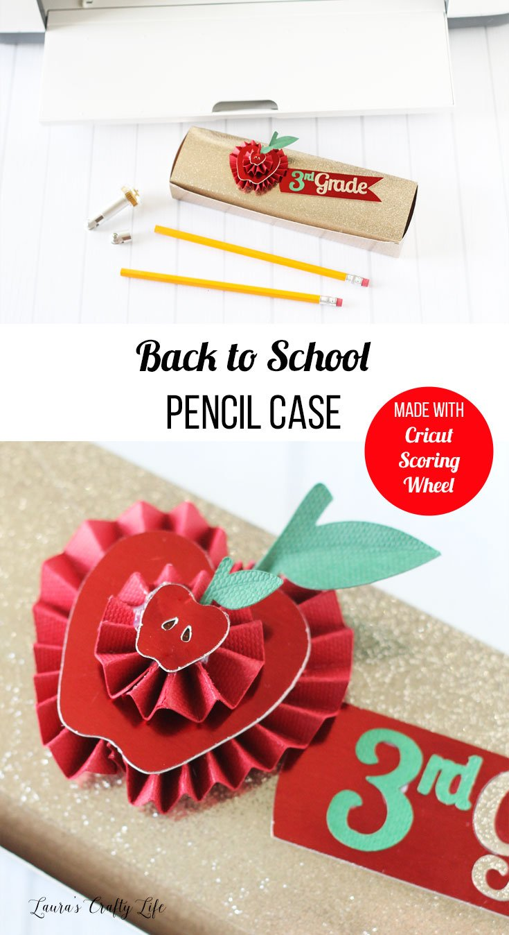 Back to school pencil case made with Cricut scoring wheels