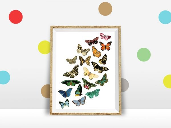 butterfly printable polkdot wall