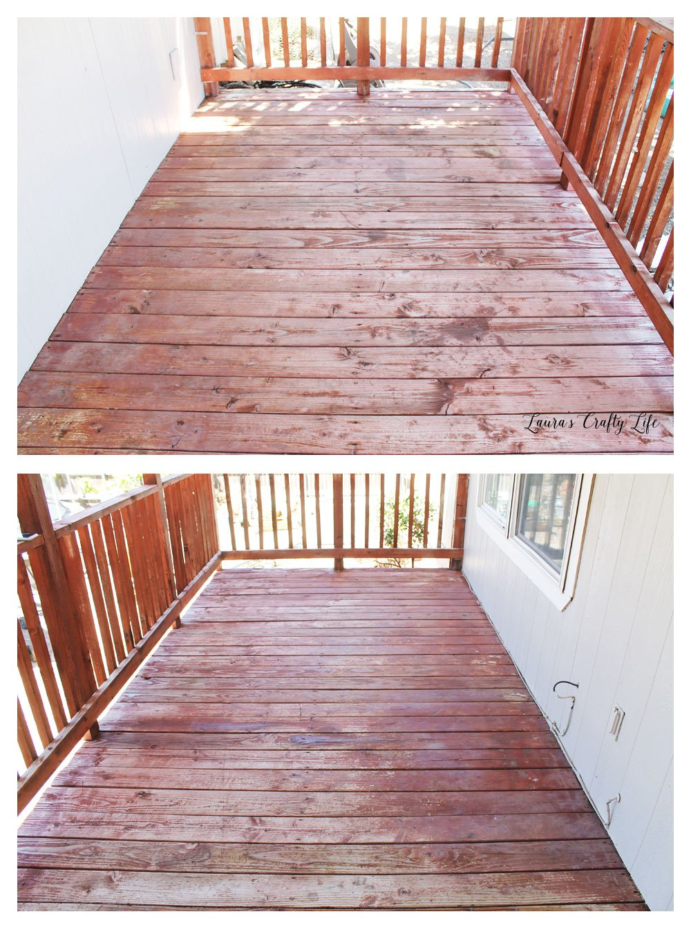 Deck after deck cleaner before staining