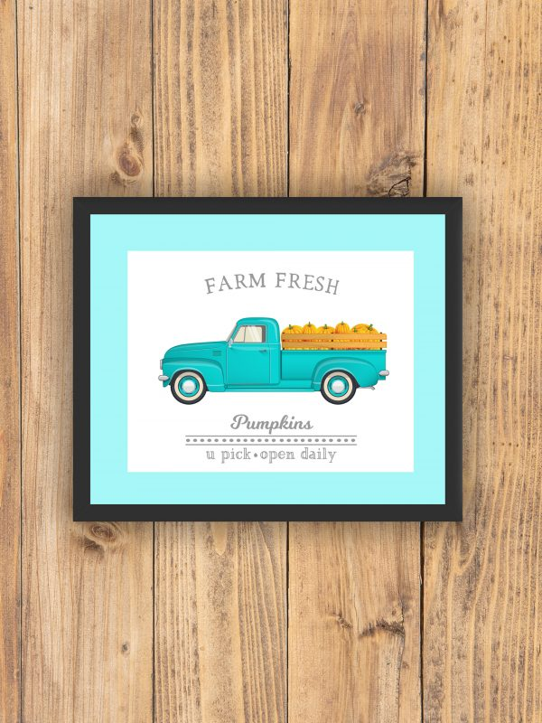farm fresh pumpkins teal mat