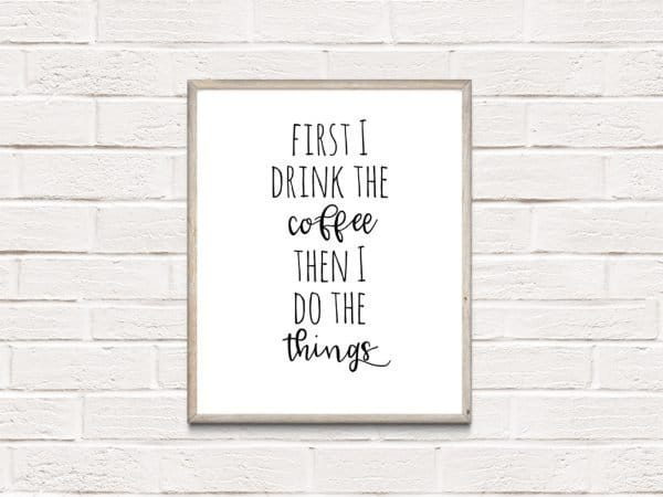 first I drink coffee brick wall mockup