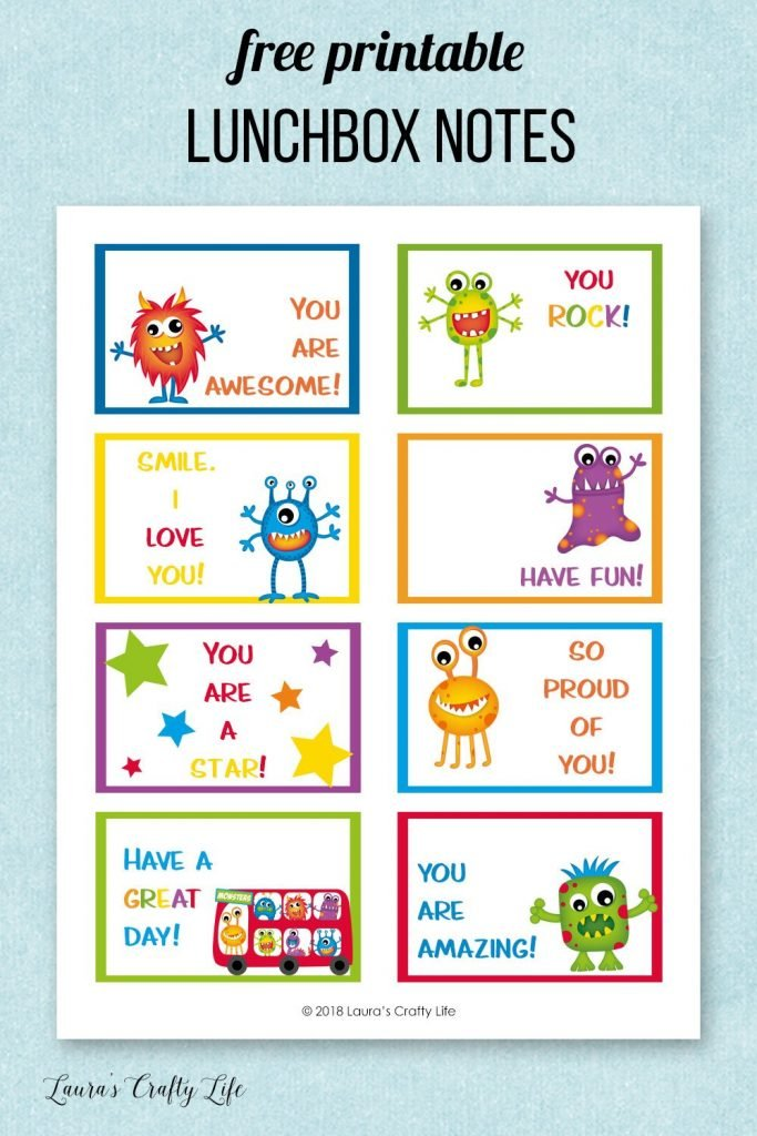 Free Printable Lunchbox Notes - Monsters