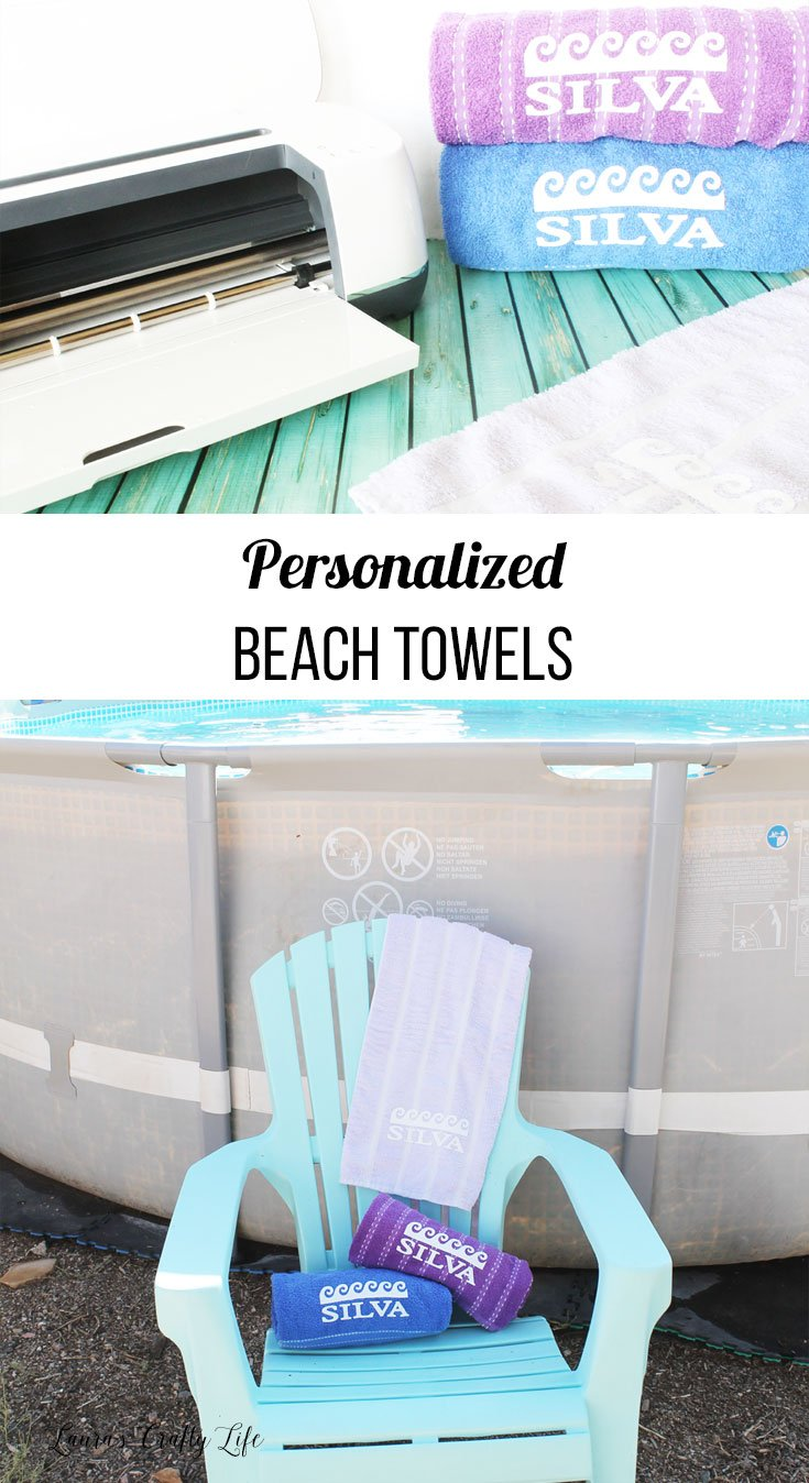 Make personalized beach towels using your Cricut Maker, Easy Press, and iron-on