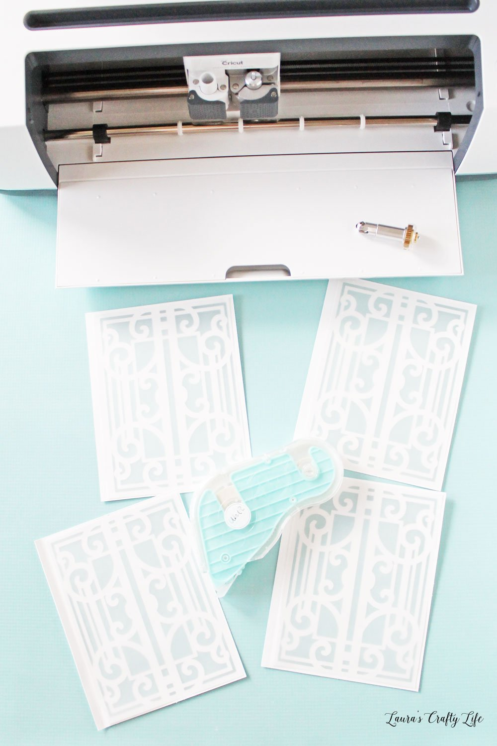 Use adhesive to attach vellum to lantern sides