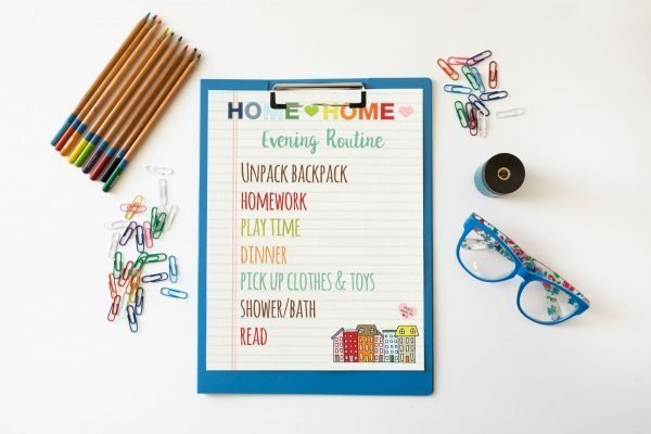 evening routine clipboard mockup