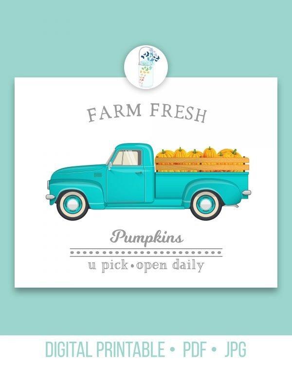 farm fresh pumpkins digital printable