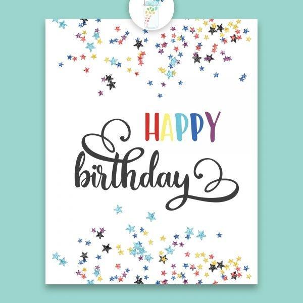 happy birthday star confetti digital printable