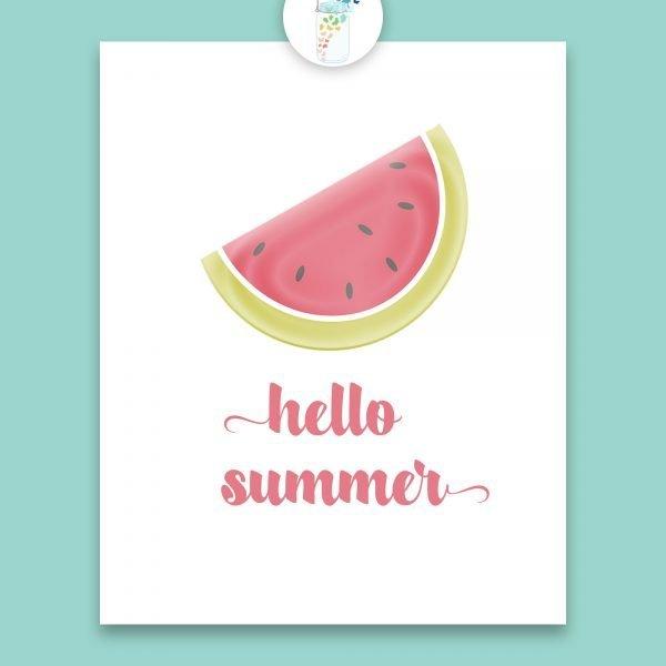 hello summer watermelon digital printable