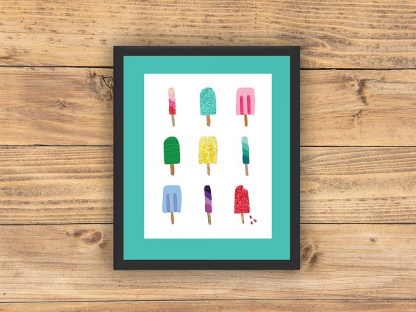 popsicles printable black frame teal mat