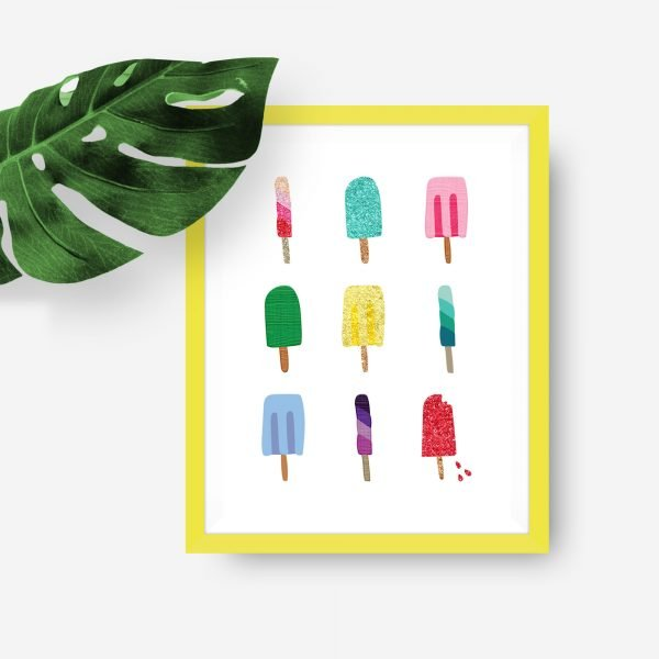 popsicles printable yellow frame