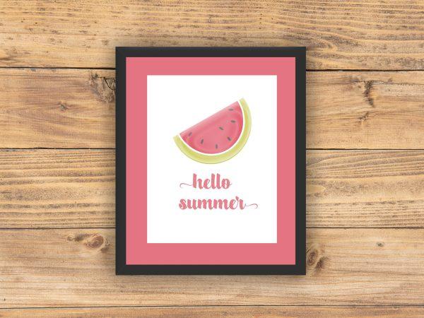 watermelon hello summer pink mat black frame