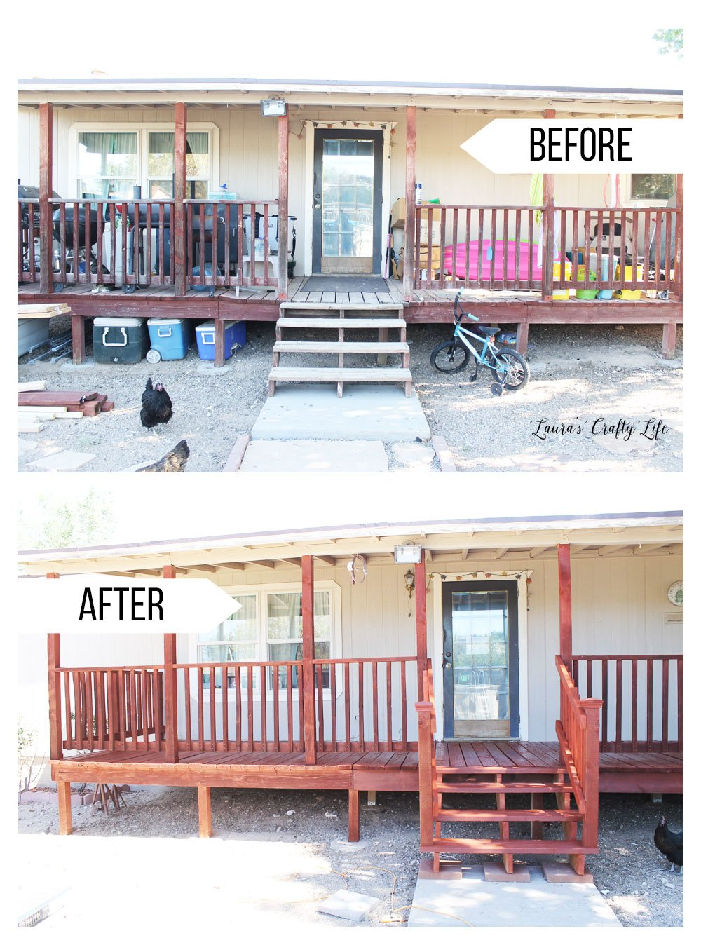 Before and after of our stained deck
