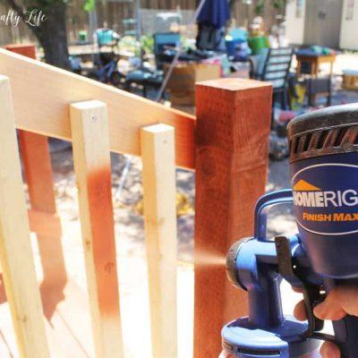 Staining railing with HomeRight Finish Max Sprayer