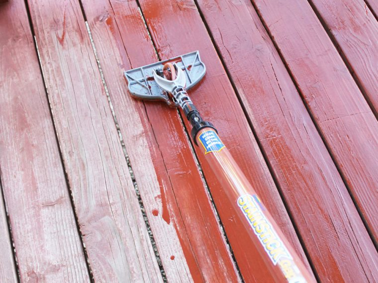 Use HomeRight Stain Stick with Gap Wheel to easily apply stain to the deck