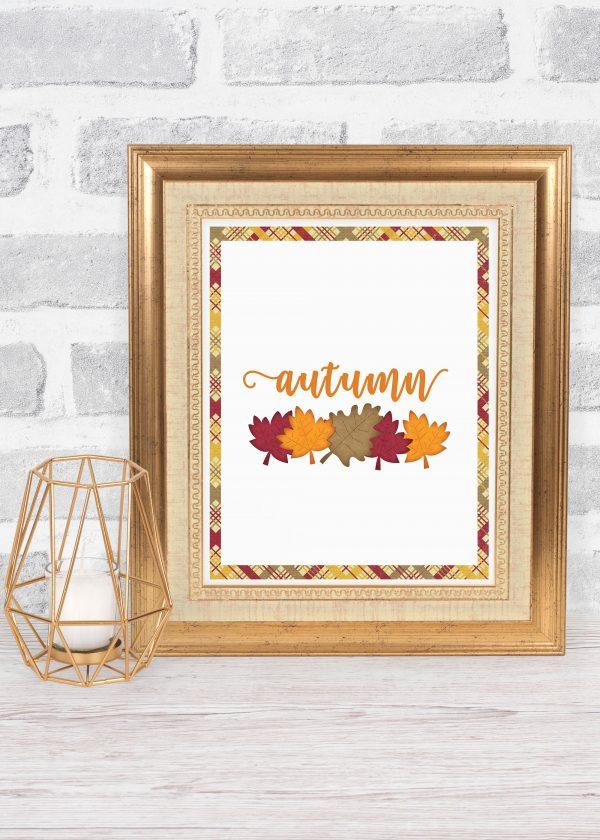 autumn leaves gold frame mockup