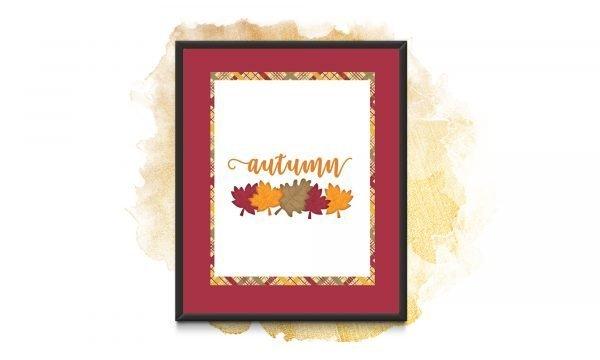 autumn leaves red frame mockup