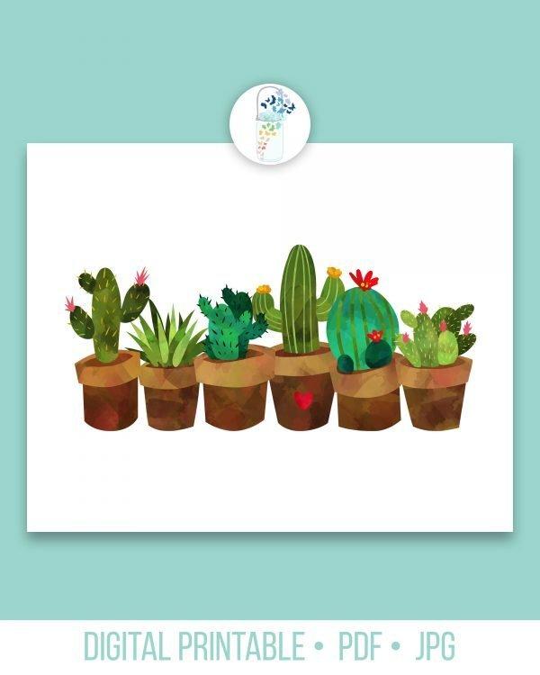 potted cactus digital printable