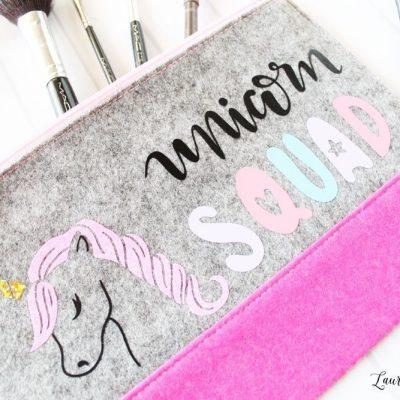 Custom unicorn makeup bag