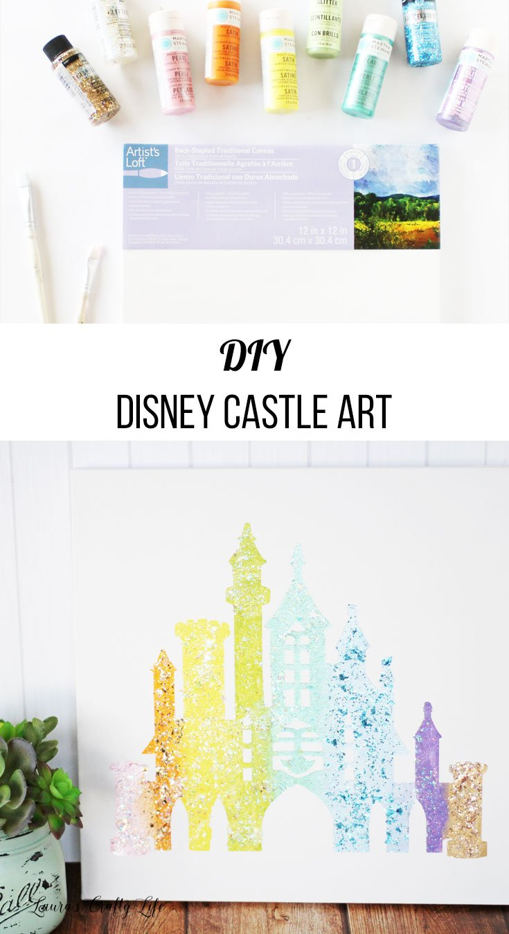 DIY Disney Castle Art - create a beautiful canvas art piece using your Cricut and Plaid paints