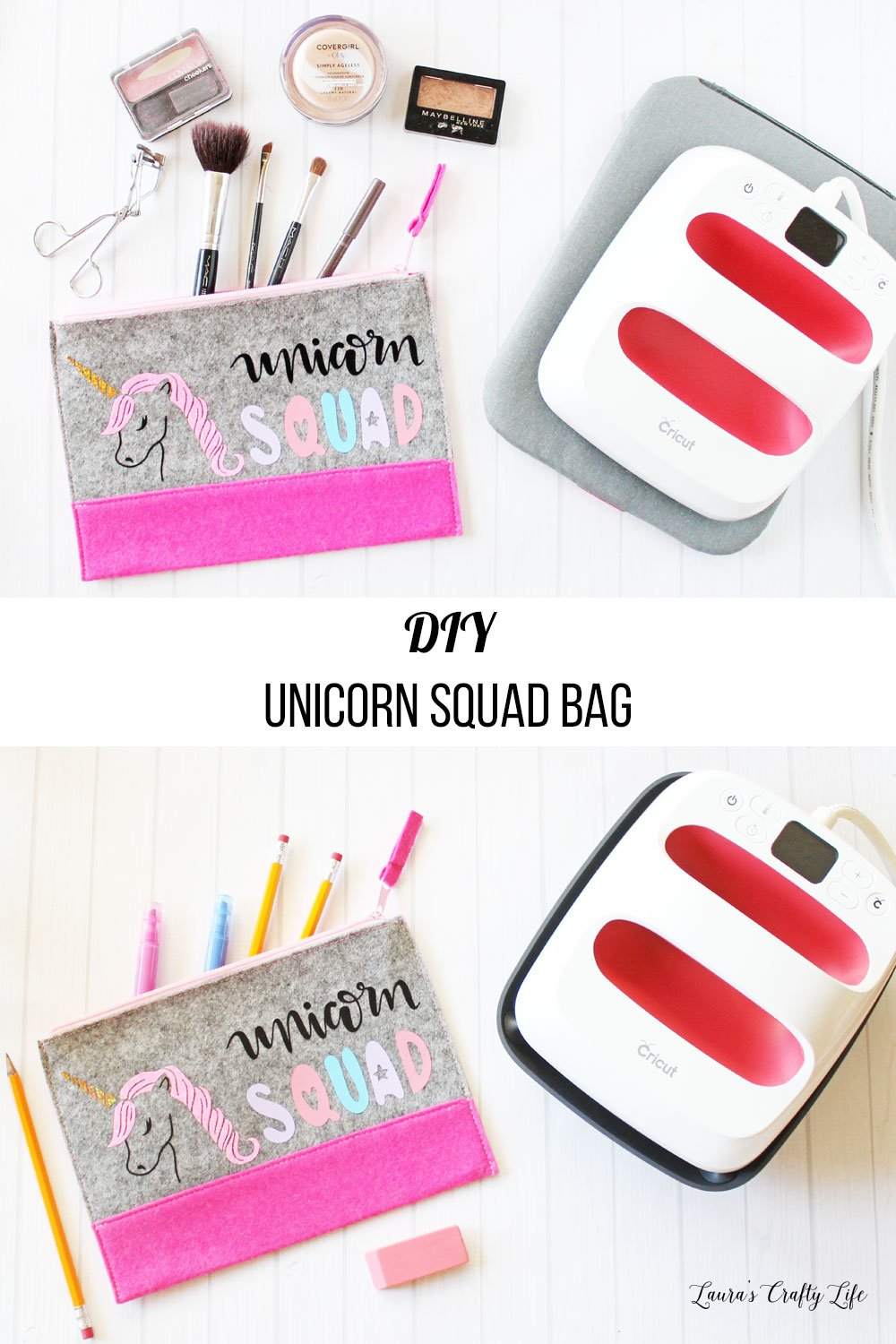DIY unicorn squad bag with Cricut - personalize a makeup bag or pencil pouch for your favorite unicorn lover. #cricutmade #laurascraftylife #unicorn