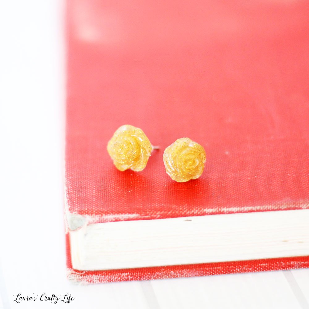Gold glitter rose earrings made with hot glue