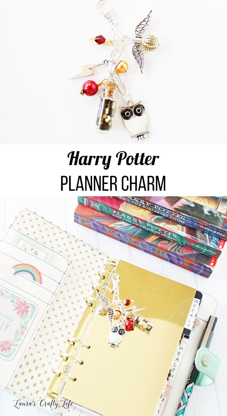 Harry Potter Planner Charm. Create a fun planner charm to clip into your favorite planner featuring your favorite wizard - Harry! This charm includes a lightning bolt, Gryffindor colored beads, potions bottle, Hedwig, and the golden snitch. #harrypotter #plannercharm #laurascraftylife