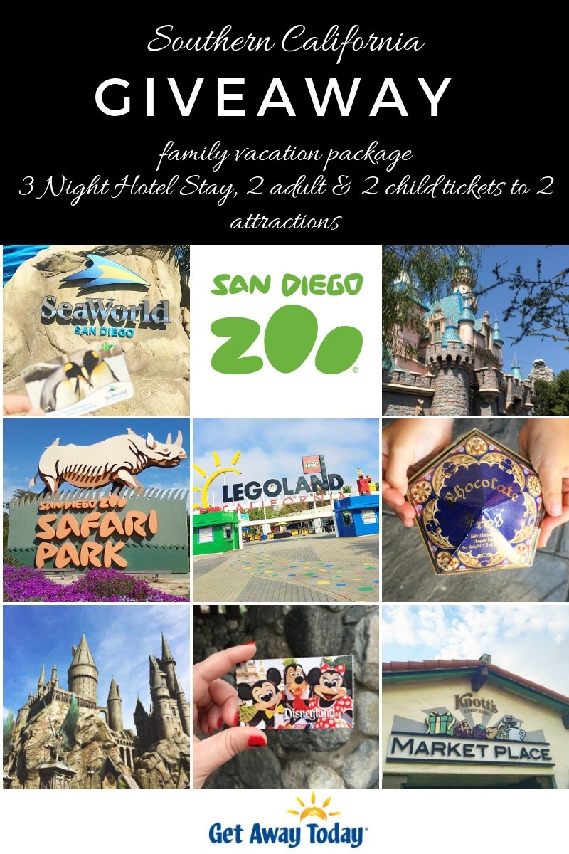 Southern California Giveaway - enter to win a 3 Night Hotel Stay, 2 adult and 2 child tickets to 2 Southern California Attractions