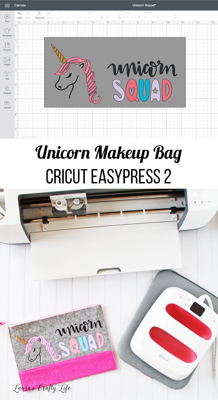 Unicorn Makeup Bag - Cricut EasyPress 2. Customize a plain makeup bag or pencil pouch with this adorable unicorn squad design. It is so easy with the Cricut EasyPress 2. #cricutmade #laurascraftylife #unicorn